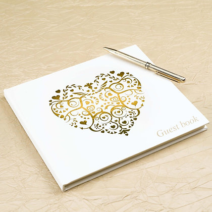 Wedding Guest Book Ivory and Gold