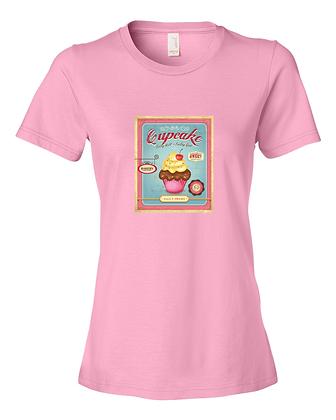 Ladies Tee Shirt Pink Vintage Cupcake