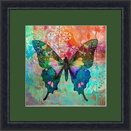 FRAMED PRINT BUTTERFLY GREEN