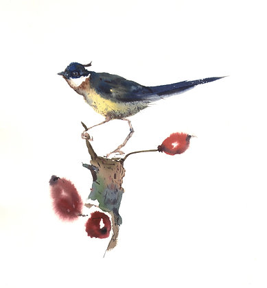 BIRD WITH ROSEHIPS