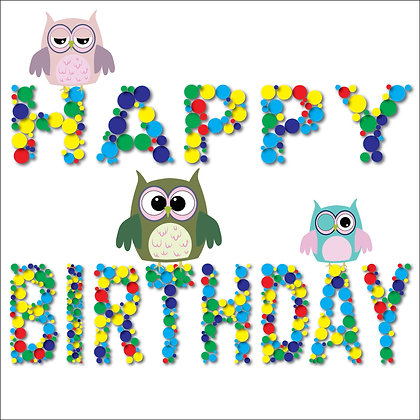 HAPPY BIRTHDAY OWLS PACK OF 10 CARDS