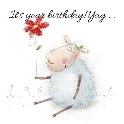 SHEEP WITH FLOWER HAPPY BIRTHDAY CARD
