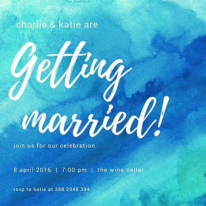 BLUE WATERCOLOUR WEDDING INVITATION