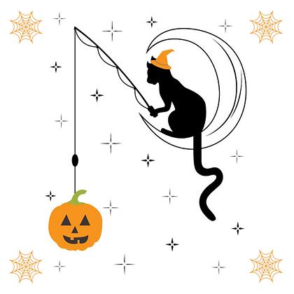 Cat Fishing for Pumpkin Set of 6