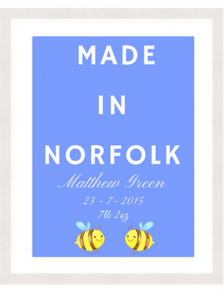 NEW BABY - MADE IN NORFOLK SKY BLUE