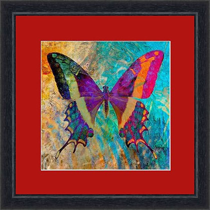 FRAMED PRINT BUTTERFLY RED