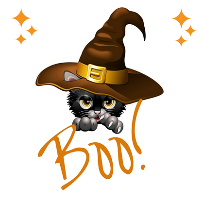 Kitten with Witches Hat Boo Set of 6