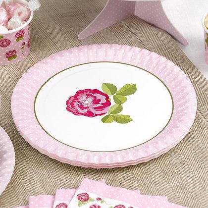 Vintage Rose Paper Plates & Cups