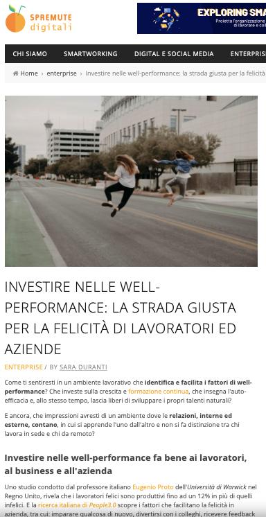 INVESTIRE NELLE WELL-PERFORMANCE: LA STRADA GIUSTA PER LA FELICITÀ DI LAVORATORI ED AZIENDE