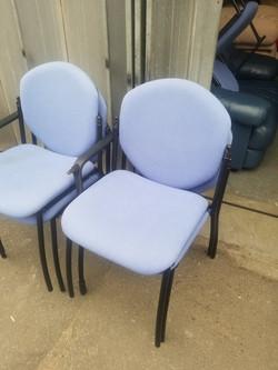 BLUE STACKER OFFICE CHAIRS METAL LEGS £10 EACH