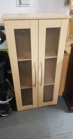 """BEECH UNIT GLASS DOORS 25"""" WIDE X 48"""" HIGH 13"""" FRONT TO BACK"""