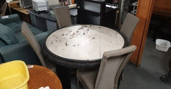 """RUSTIC STEEL AND OAK DINING TABLE 48"""" DIAMETER X 33"""" HIGH £100"""