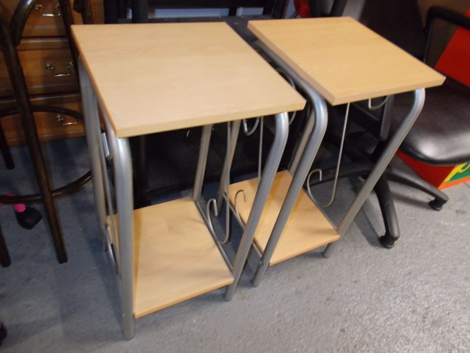 BEECH SIDE TABLES £15 EACH