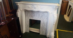 """WHITE PLASTER FIREPLACE WITH MARBLE BACKBOARD MEASURES 56"""" WIDE X 46"""" HIGH 9"""" FRONT TO BACK £100"""