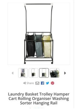 LAUNDRY BASKET TROLLEY NEW IN BOX £20