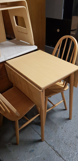 DROP LEAF TABLE £25, CHAIRS £15 EACH