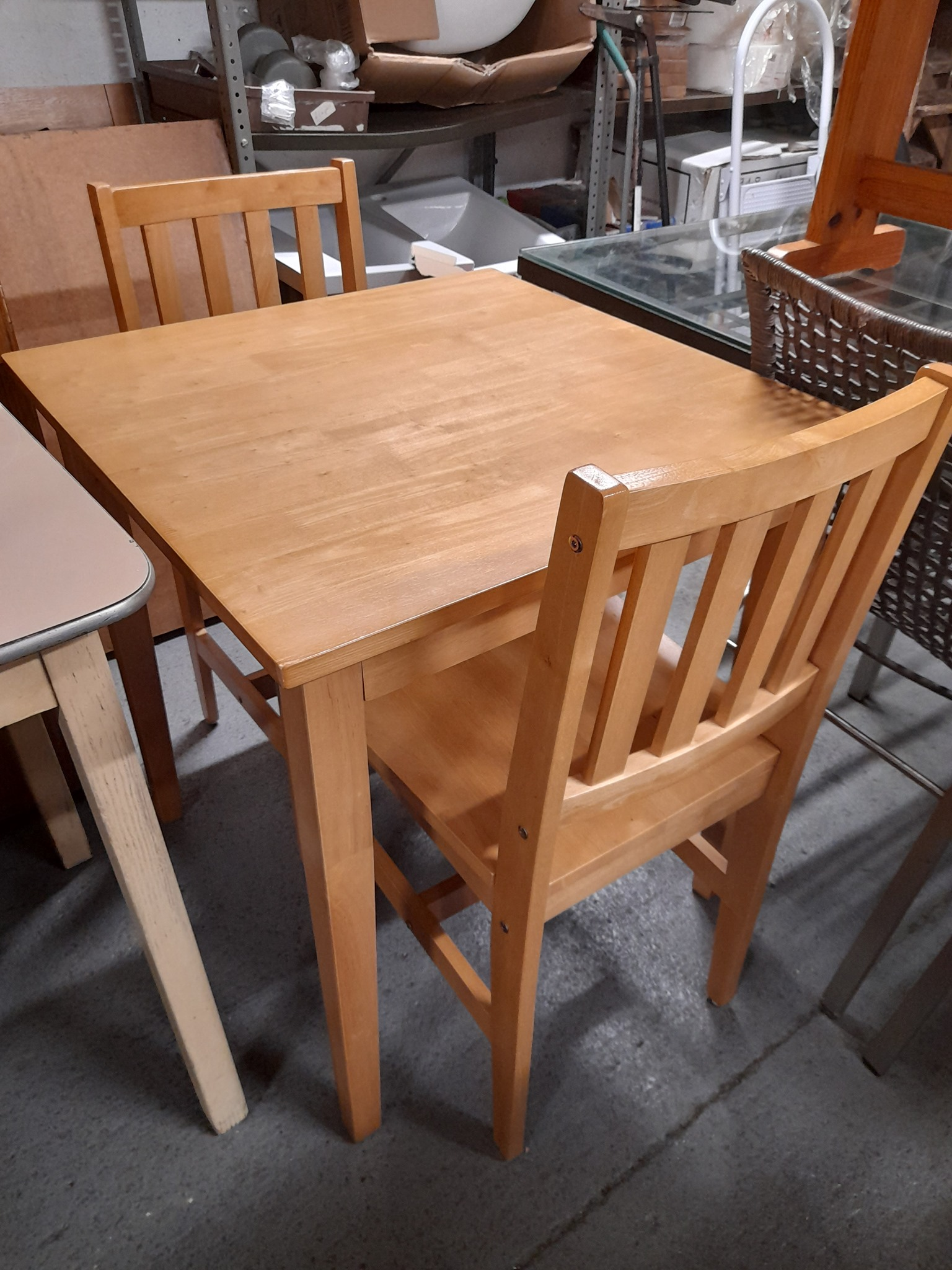 BEECH TABLE AND TWO CHAIRS £65