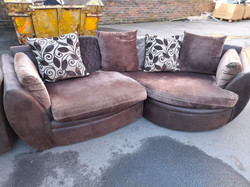 BROWN FABRIC SOFA AND SNUGGLE CHAIR £180