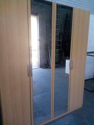 FOUR DOOR BEECH WARDROBE £140