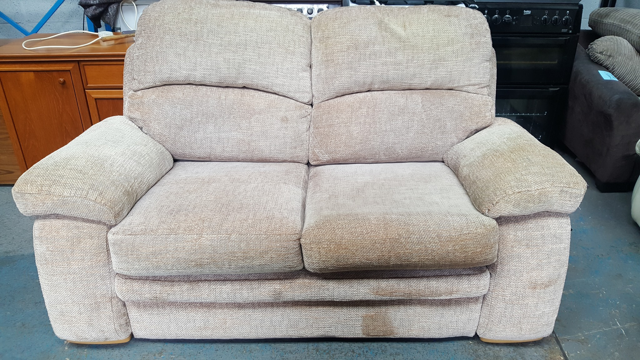2 SEATER OATMEAL FABRIC SOFA £95