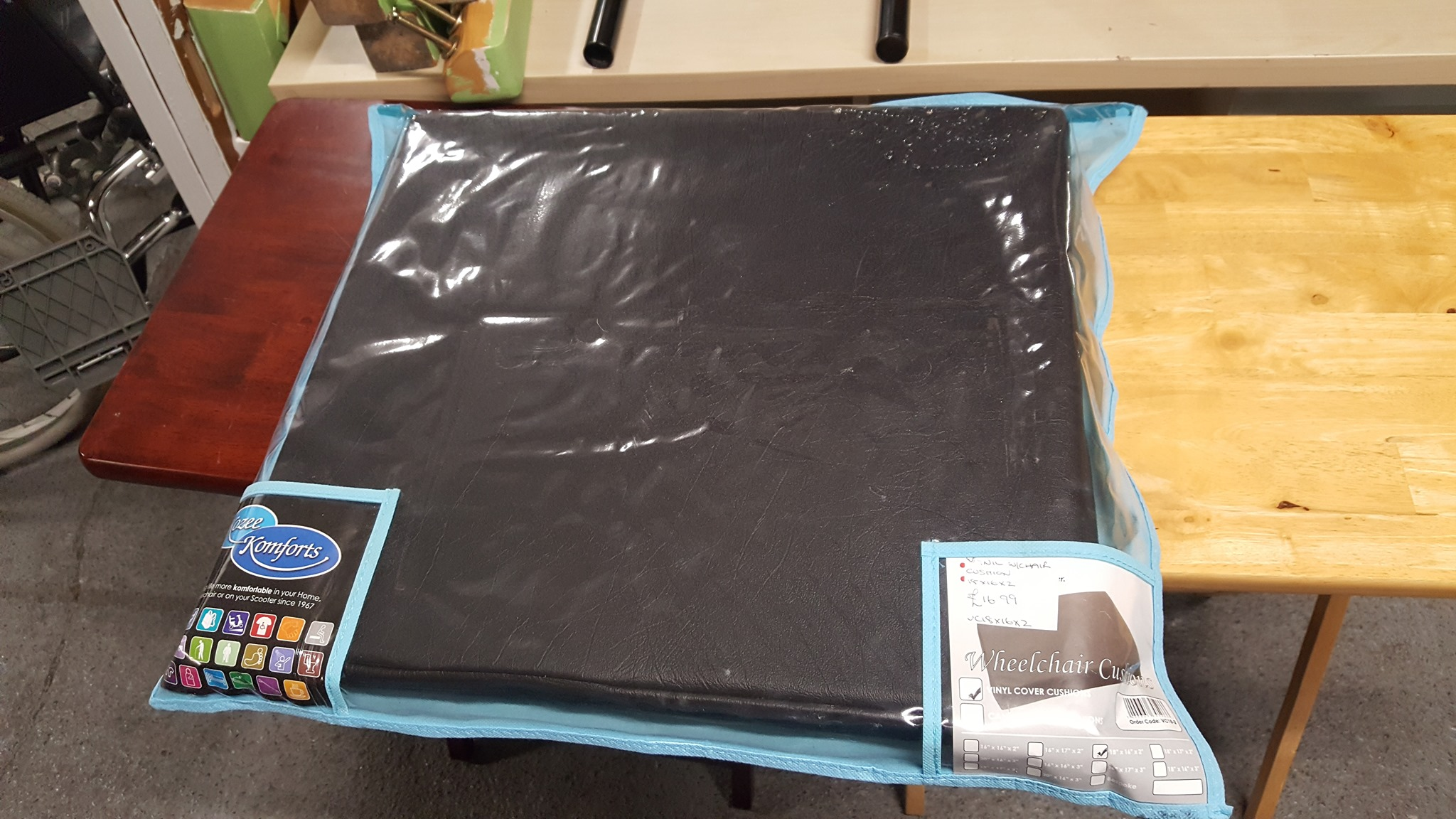 "WHEELCHAIR CUSHION 18"" X16"" £15"