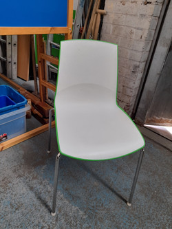 WHITE AND GREEN STACKABLE CHAIRS £25 EACH