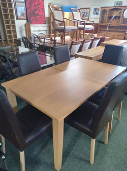 """OAK TABLE 63"""" X 36"""" £75 BROWN CHAIRS £15 EACH"""