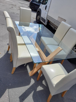 GLASS DINING TABLE ONLY  £65