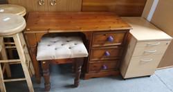 PINE DRESSING TABLE / DESK £55 STOOL £20