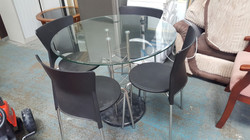 ROUND GLASS TABLE AND 4 CHAIRS £65