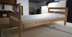 "JUNIOR BED AND MATTRESS 54"" LONG X 29.5"" WIDE 16"" HIGH £35"