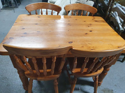 PINE TABLE AND CHAIRS £75