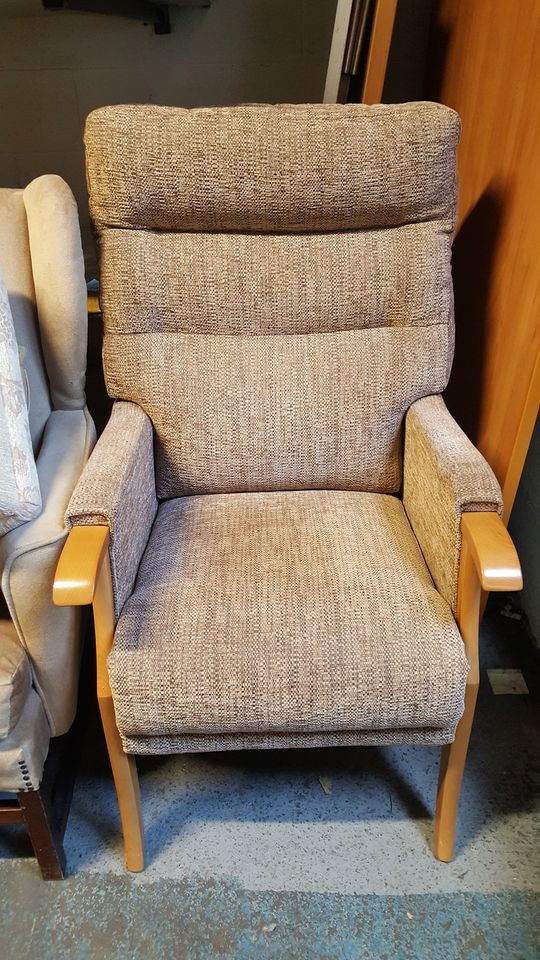 BEIGE FABRIC FIRESIDE CHAIR £45