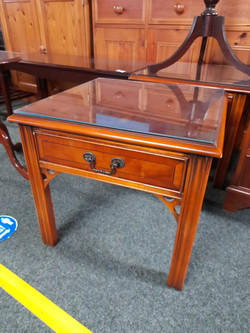 """SIDE TABLE WITH GLASS TOP 20"""" X 20"""" 18"""" HIGH £25 EACH"""