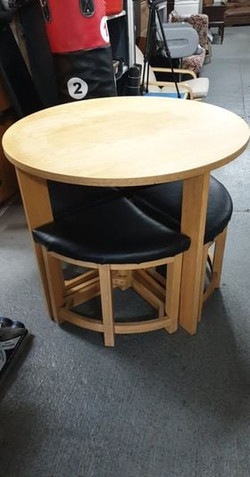 SPACESAVER ROUND WOODEN TABLE AND 4 CHAIRS £65