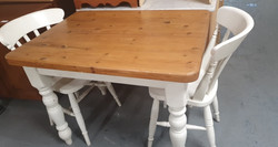 FARMHOUSE TABLE AND 2 CHAIRS £65