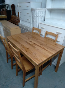 """WOODEN TABLE 46.5"""" X 29"""" £40 CHAIRS SOLD"""