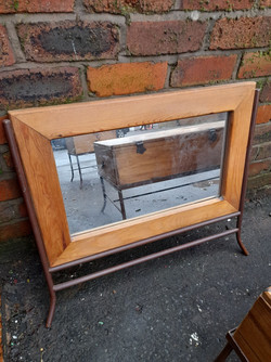 PINE MIRROR WITH METAL STAND £20