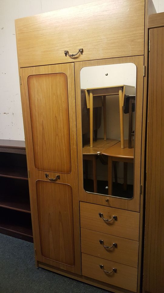 TEAK WARDROBE WITH DRAWERS AND MIRROR £65