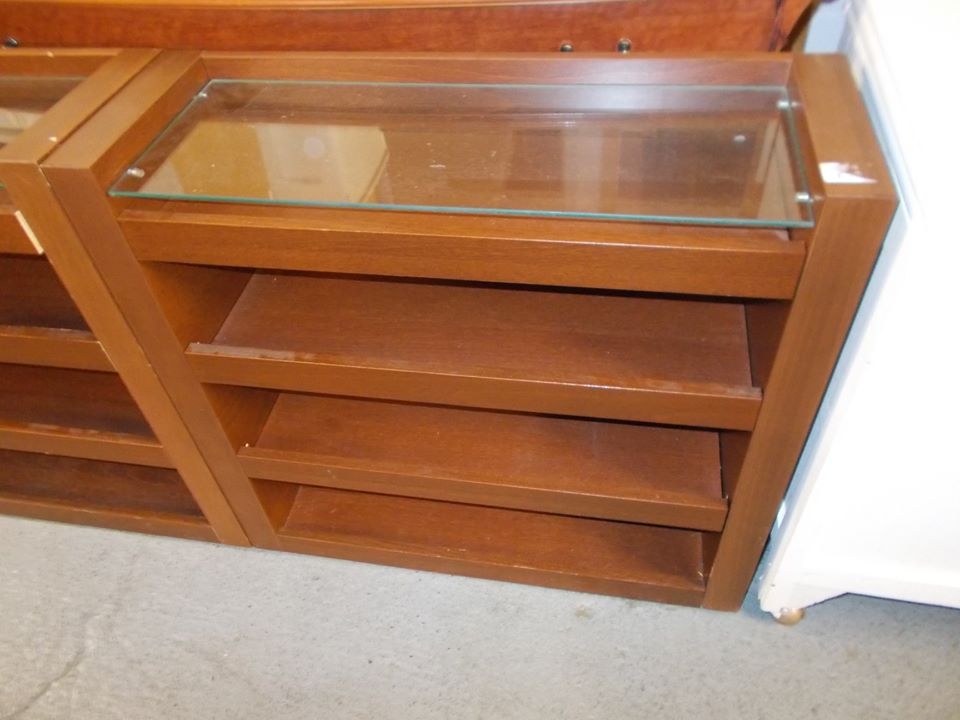 LOW IKEA SHELF UNIT WITH GLASS TOP £20