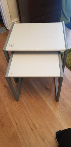 SET OF 2 GREY SIDE TABLES £30