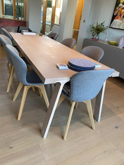 """VERY LONG SOLID OAK TABLE 102"""" LONG X 35"""" WIDE NO CHAIRS £150"""