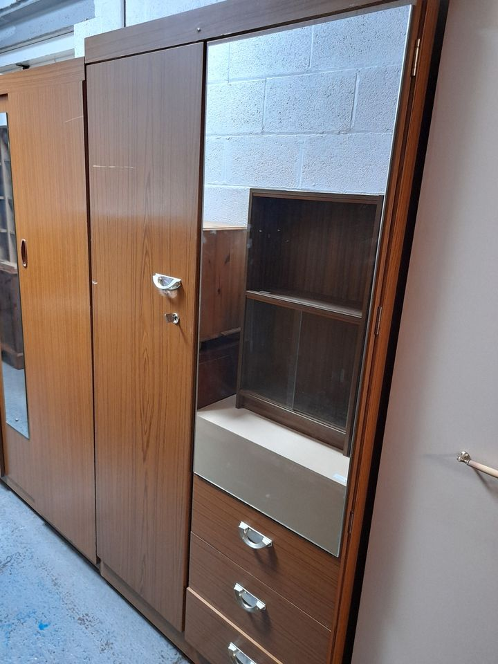 TEAK WARDROBE WITH MIRROR AND DRAWERS £65