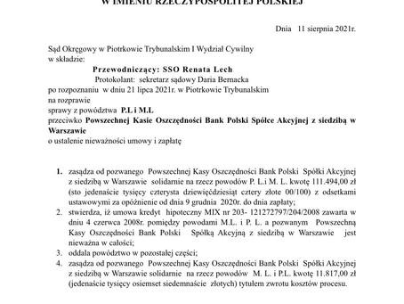Wyrok w sprawie frankowej przeciwko PKO BP S.A. (Sygnatura akt I C 1591/20)
