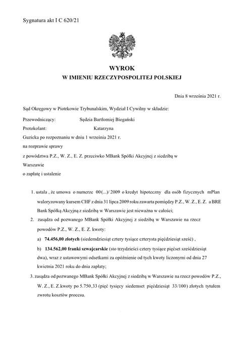 Wyrok mBank 08.09