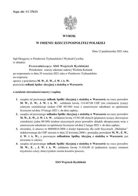Wyrok mBank 14.10.2021