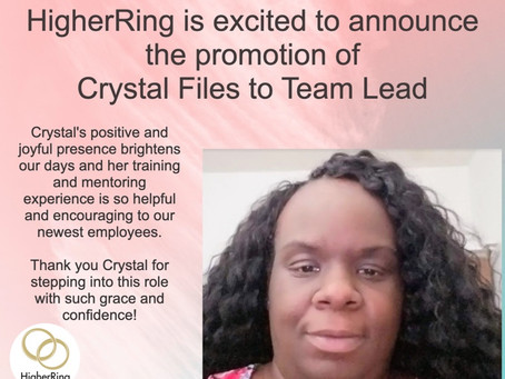 HigherRing Announces the Promotion of Crystal Files