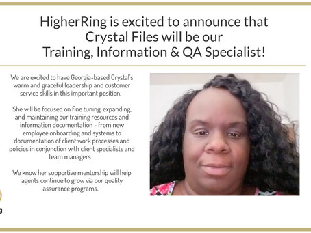 Crystal Files Promoted to Training, Information & QA Specialist