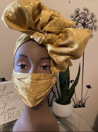 Headwrap with mask -Gold