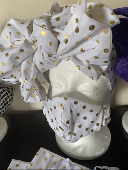 Headwrap with mask White & Gold